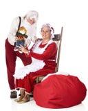 Uppvisning av jultomten av arbete Arkivbild