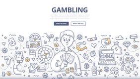 Uprawiać hazard Doodle pojęcie royalty ilustracja