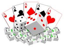 Uprawiać hazard ilustrację karty, dices i pieniądze Ilustracja Wektor