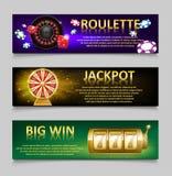 Uprawiać hazard sztandary z Ruletowego koła i kasyna układami scalonymi, loteryjna maszyna, złocisty pomyślności koła set Kasynow Obrazy Stock