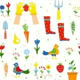 Uprawiać ogródek śmiesznego bezszwowego wzór dla dzieciaków z kwiatami, narzędzia, ptaki, graficzna ilustracja Obrazy Royalty Free