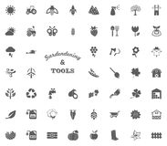 Uprawiać ogródek i narzędzie teksta listu ikona Uprawiający ogródek i narzędzie wektorowe ikony ustawiać Obrazy Stock