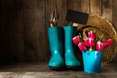 Uprawiać ogródek narzędzia z błękitnymi gumowymi butami, słomiany kapelusz, wiosna kwiat obrazy stock
