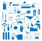 Uprawiać ogródek ustawiam z rolnymi narzędziami i wyposażeniem: krajacz, warzywa, wheelbarrow, świntuch, łopata, inna ogród ikona zdjęcia stock