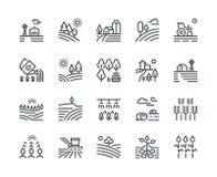 Uprawiać ziemię krajobraz linii ikony Wiejscy domy, zasadzający warzywa i pszenicznych pola, kultywowali uprawy Rolnictwo ilustracja wektor