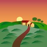 Uprawia ziemię z domem i zielenieje obsiewania pole, stajnia ilustracja wektor