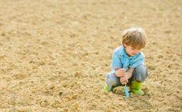 Uprawia? ziemi? i rolnictwo ma?y dzieciak zasadza kwiatu Ekologia i ochrona ?rodowiska br?zowi? dzie? zakrywaj?c? ziemi? ?rodowis zdjęcie royalty free