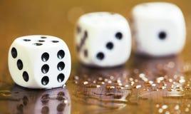 Uprawiający hazard nałóg, zależności pojęcie, biel dices obrazy stock