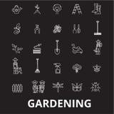 Uprawiający ogródek editable kreskowy ikony wektorowego ustawiającego na czarnym tle Uprawiać ogródek białe kontur ilustracje, zn royalty ilustracja