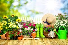 Uprawiający ogródek narzędzia i kwiaty na tarasie ja Zdjęcia Royalty Free