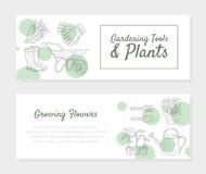 Uprawiający ogródek narzędzia i rośliny R, kwiatów Horyzontalnych sztandary Ustawiających, eason ogrodnictwo i Horticulture wekto ilustracji