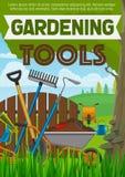 Uprawiający ogródek narzędzia plakatowych z horticulture wyposażeniem ilustracja wektor