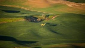 Uprawy duster nad pszenicznym polem w Palouse Zdjęcia Royalty Free