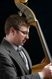 Upright bass player Royalty Free Stock Photos