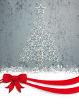 Upright Christmas Tree Stars Red Ribbon Concrete Royalty Free Stock Photography