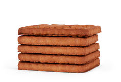 Upright cookie against stack of double chocolate chip cookies on Royalty Free Stock Images