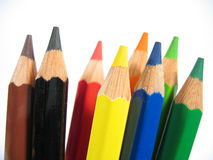 Upright Crayons I. Upright colored wooden crayons Royalty Free Stock Photos