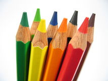 Upright Crayons II. Upright colored wooden crayons Royalty Free Stock Photography