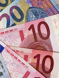 Upright crop of Euro banknotes Royalty Free Stock Photo
