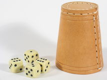 Upright Dice Box. A standing dice box with white dice on white background royalty free stock photography