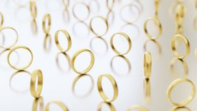 Upright Gold Wedding Rings Variously Rotated on a Reflective White Surface. Upright gold wedding rings on a bright reflective surface. They are rotated at vector illustration