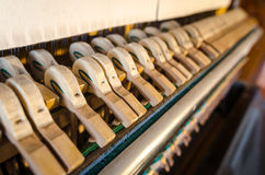 Upright piano hammers detail Royalty Free Stock Photo