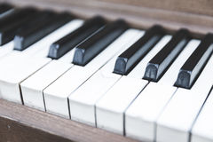Upright piano keyboard or piano keys. Black and white piano keys on a wooden upright piano Royalty Free Stock Images