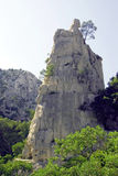 Upright rock. S' into the Calanques Stock Images