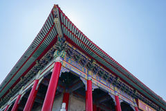 Uprisen angle of Chinese temple roof architecture Stock Photos