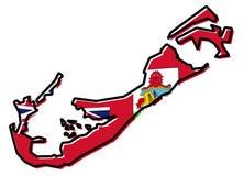 Uproszczona mapa Bermuda kontur z nieznacznie przegiętą flagą, ilustracji