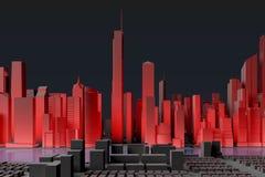 Uproszczony miasto z czerwoną iluminacją Obrazy Stock
