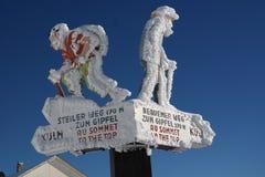 Uprzedni signage Rigi szczyt zdjęcia stock