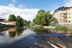 Upsália, Sweden. Rio Fyris imagens de stock