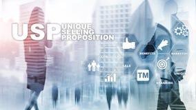 UPS - Уникальные продавая предложения Концепция дела и финансов на виртуальном составленном экране Мультимедиа стоковые фото