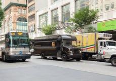 UPS ciężarówka w Manhattan obrazy stock