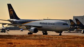 UPS A300 coming in to the terminal stock image