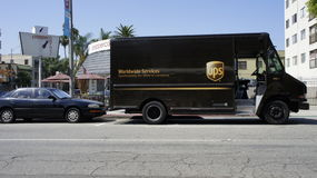 UPS Delevering Van Imagen de archivo