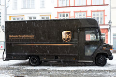 UPS delivery van during snowfall Stock Image