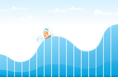 Ups and Downs. Ship sailing on tumultuous ocean made of blue graphic to illustrate ups and downs of life, or business, or whatever you can think of Royalty Free Stock Image