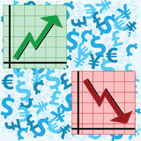 Ups and downs. Vector illustration showing two graphs, one showing an upward movement and another a downward movement, over a background of currency symbols Royalty Free Stock Photo