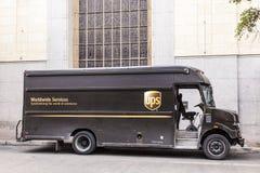 UPS leveranslastbil i Förenta staterna Arkivbild