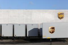 UPS logistisk mitt i Vejle, Danmark royaltyfria bilder