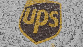 UPS logo composing with puzzle pieces, editorial 3D rendering. Company logo made of puzzle pieces, conceptual editorial 3D stock illustration