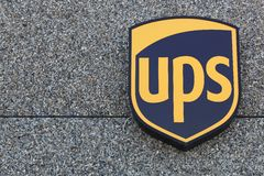 UPS logo on a facade Royalty Free Stock Photos