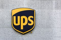 UPS logo on a facade Royalty Free Stock Photo