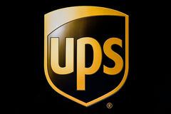 UPS logo. New York, April 28, 2017: The UPS logo on one of their trucks stock images