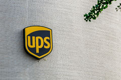 UPS logo on their building royalty free stock image