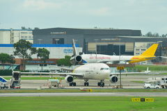 UPS MD-11F freighter parking at Changi Airport Royalty Free Stock Photo