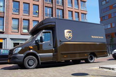 UPS Postal Delivery Truck - Mercedes Royalty Free Stock Images