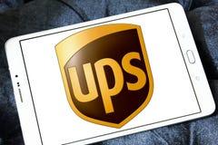 Ups postal shipping logo. Logo of postal shipping company ups on samsung tablet Royalty Free Stock Photo